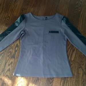 Walter Backer Leather Side Stripe T-Shirt